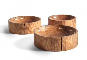 Ethnicraft designové mísy Natural pine bowls - set of 3