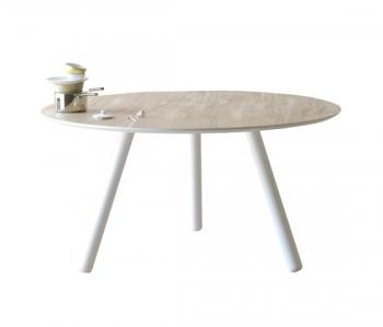 Výprodej MINIFORMS jídelní stoly Pixie Round (Ø 130 cm, Vintage Oak, bílá podnož)