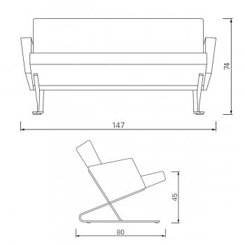 CLASSICON sedačka s područkami Satyr