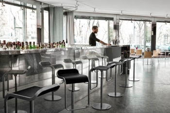 Výprodej La Palma designové barové židle Lem (80 cm) (černá kůže/ ocel lakovaná bíla)