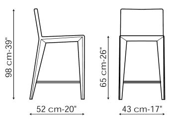 Bonaldo designové barové židle Filly Up Too (výška sedáku 65 cm)