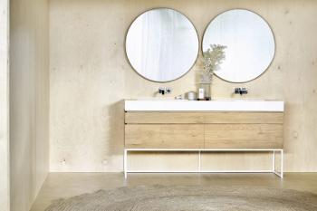 Ethnicraft designová zrcadla Oak Layers Wall Mirror (průměr 91 cm)