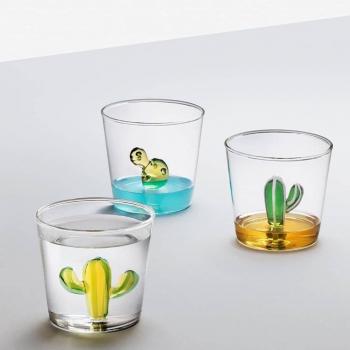Ichendorf Milano designové sklenice na vodu Desert Plants Tumbler Cactus Green-Amber