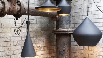 Výprodej Tom Dixon designové závěsná svítidla Beat Tall Pendant (černá, zlatá)