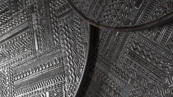 Ethnicraft designové konferenční stolky Tabwa Black Round Nesting Table