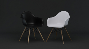 Výprodej Vitra designové židle DAW (černá s čalouněným sedákem)