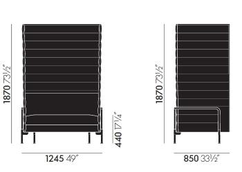 Vitra designové sedačky Alcove Sofa Loveseat Xtra Highback (šířka 126 cm)