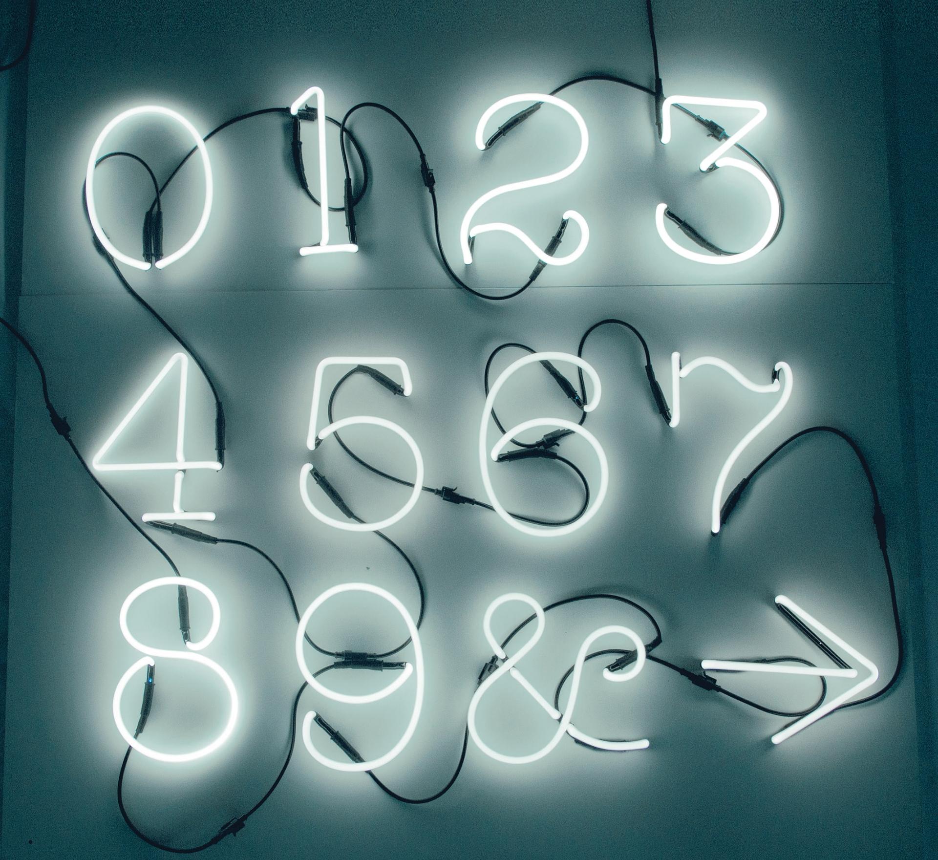 Seletti designová nástěnná svítidla Neon Art (číslice)