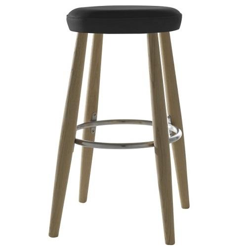 """Výprodej Carl Hansen designové barové židle Ch56 (černá kůže kategorie """"C"""", konstrukce dub lakovaný / olejovaný, výška"""