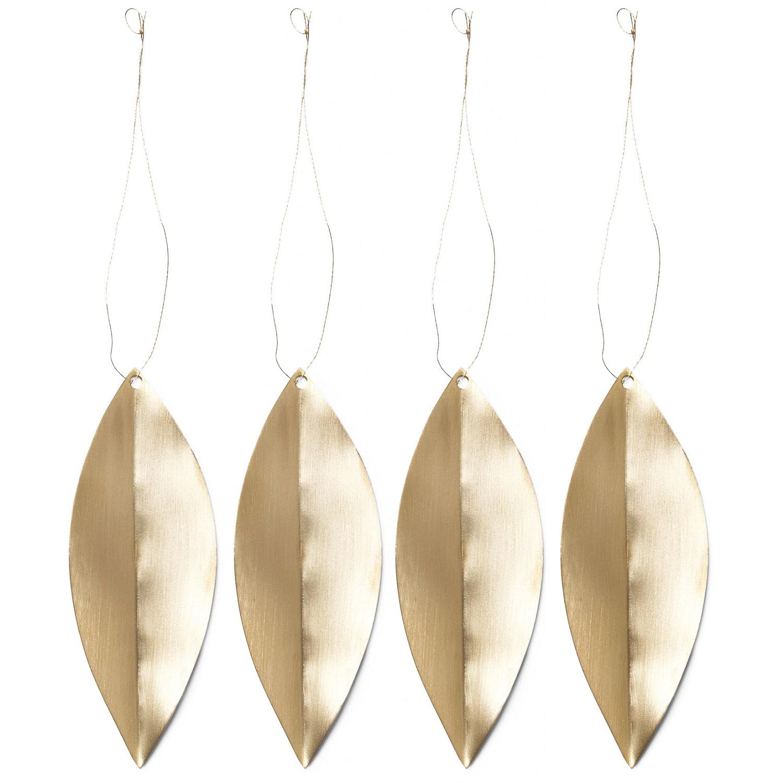 Ferm Living designové vánoční ozdoby Leaf Brass Ornaments (4 kusy)
