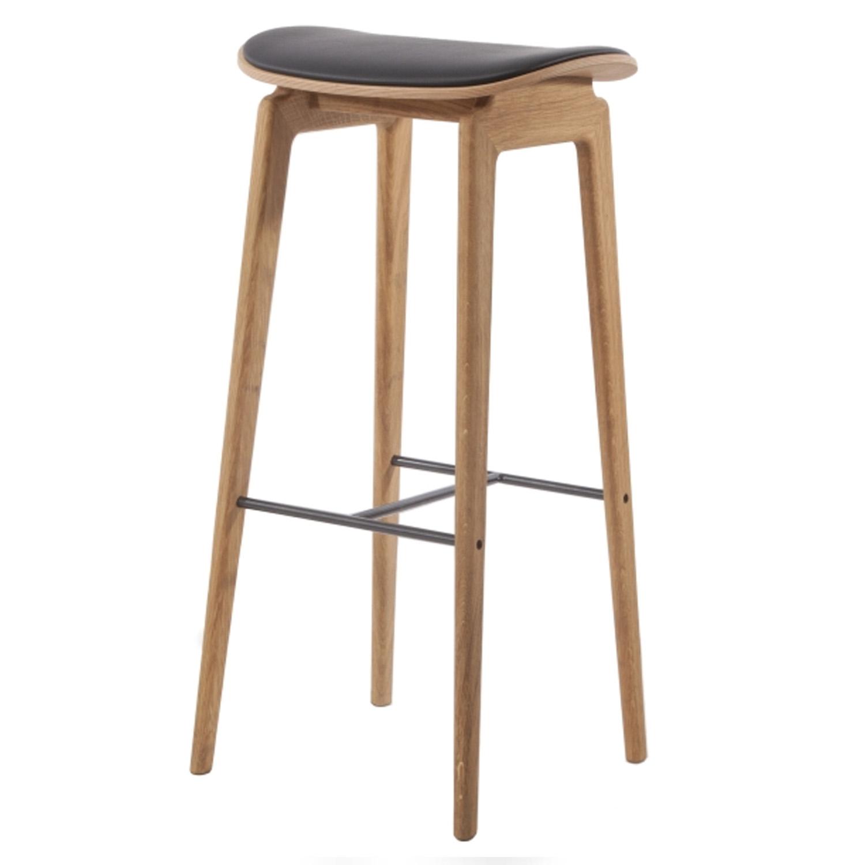 Výprodej Norr 11 designové barové židle NY11 (75cm, polstrování, kůže černá)