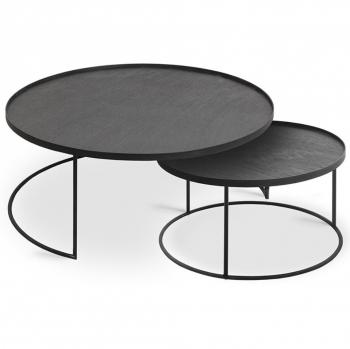 Designové odkládací stolky ETHNICRAFT Round Tray Coffee Table Set