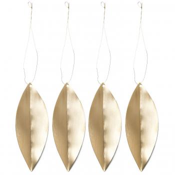 Designové vánoční ozdoby Leaf Brass Ornaments