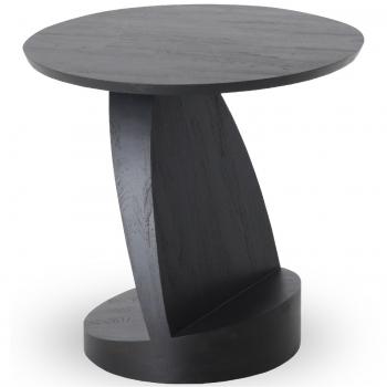 Designové odkládací stolky Teak Oblic Black Table